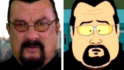 Steven Seagal and  his South Park caricature