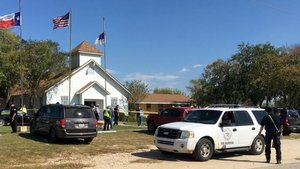 Chuch in Sutherland Springs Texas where at lease 25 people were shot and killed