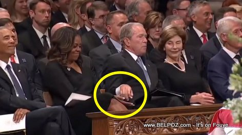 McCain's Funeral: George Bush passes Michelle Obama a piece of Candy, it goes Viral (VIDEO)