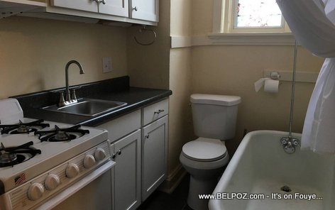 Would you rent this apartment with the Kitchen and Bathroom in the same exact space?